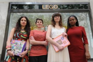 LEGO executives met with SPARK Executive Director Dana Edell, Bailey Shoemaker Richards, Stephanie Cole and Jamia Wilson on Friday.
