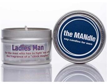 "The Mandle soy candle called ""Ladies Man"" for the fragrance of a"