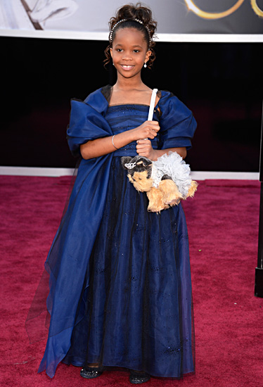 Quvenzhané Wallis, Actual Child, on the red carpet with her signature puppy purse, definitely not singing songs objectifying people.