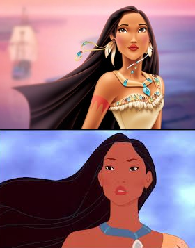 """Top, the """"New"""" Pocahontas. Bottom, Pocahontas on film."""